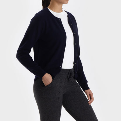 Nora cardigan, midnight blue, 50% cashmere wool & 50% wool