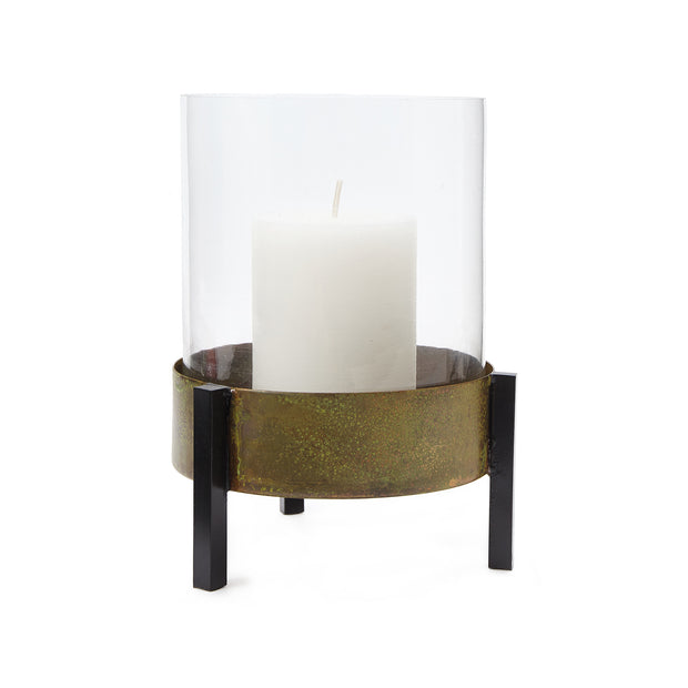 Ozar Windlight Candle Holder brass & mustard & black, 100% glass & 100% metal