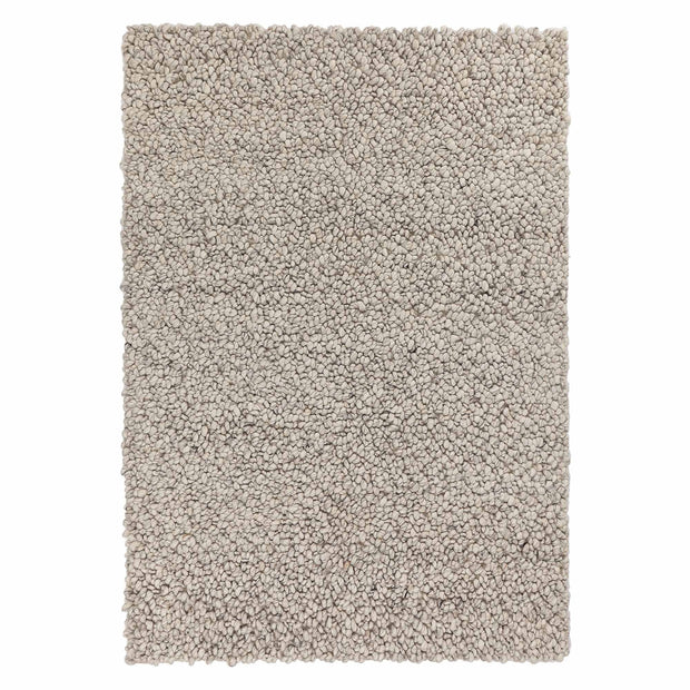 Panchu rug, silver grey & grey, 45% wool & 45% viscose & 10% cotton | URBANARA wool rugs