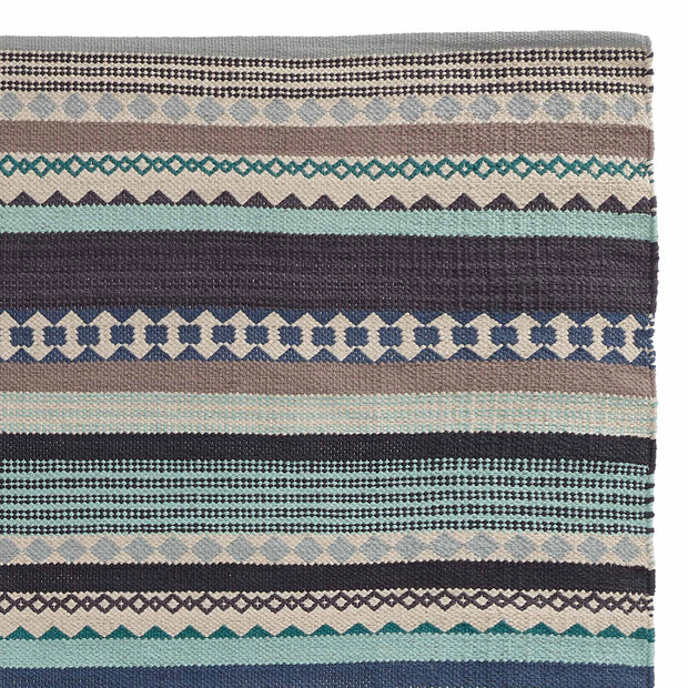 Patewa Rug teal & light blue & grey & off-white, 100% cotton