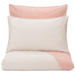 Peral Percale Bed Linen natural & light dusty pink, 100% cotton