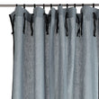 Rajula linen curtain light green grey & black, 100% linen & 100% cotton | URBANARA curtains