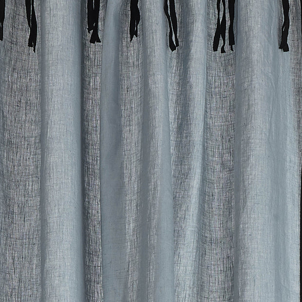 Rajula linen curtain light green grey & black, 100% linen & 100% cotton | High quality homewares
