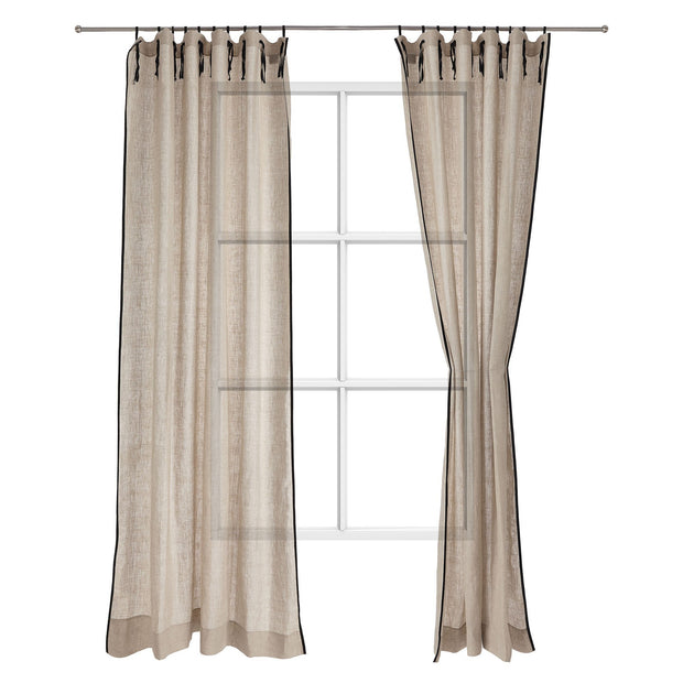 Rajula curtain, natural & black, 100% linen & 100% cotton