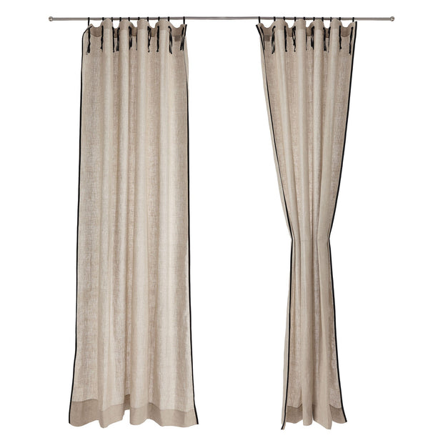 Rajula curtain, natural & black, 100% linen & 100% cotton |High quality homewares