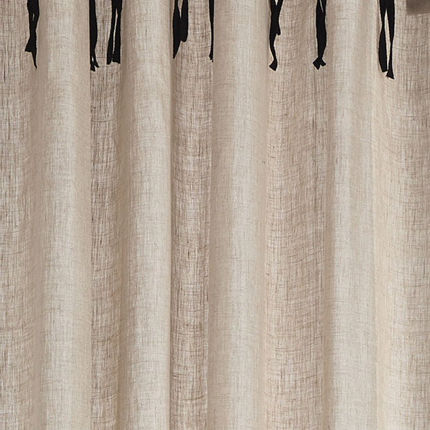 Rajula curtain, natural & black, 100% linen & 100% cotton | URBANARA curtains