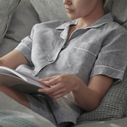 Casaal Nightshirt in dark grey blue & white | Home & Living inspiration | URBANARA