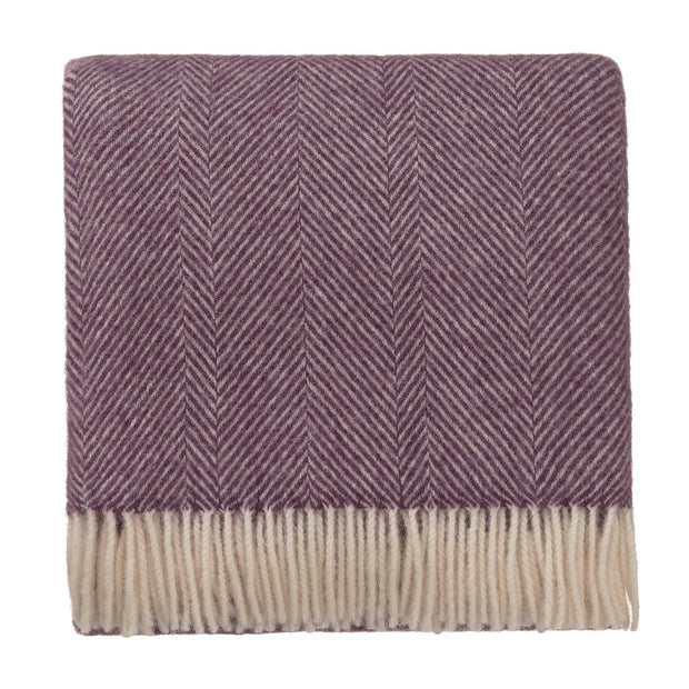 Salantai blanket, plum & cream, 100% new wool |High quality homewares