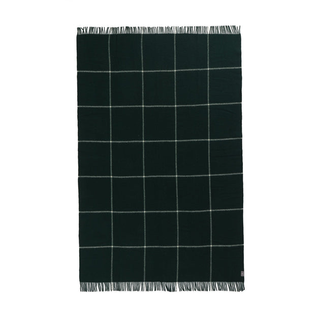 Saldus Wool Blanket dark green & cream, 100% new wool | URBANARA wool blankets
