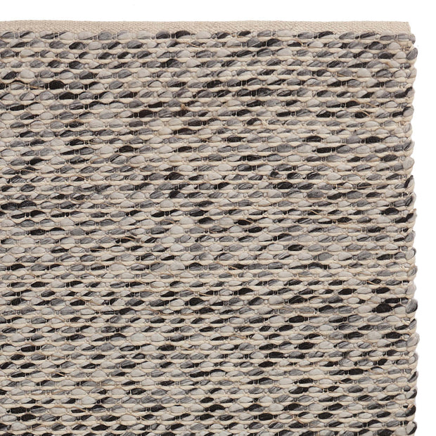 Salo Rug charcoal melange & natural white & natural, 55% wool & 40% polyester & 5% jute