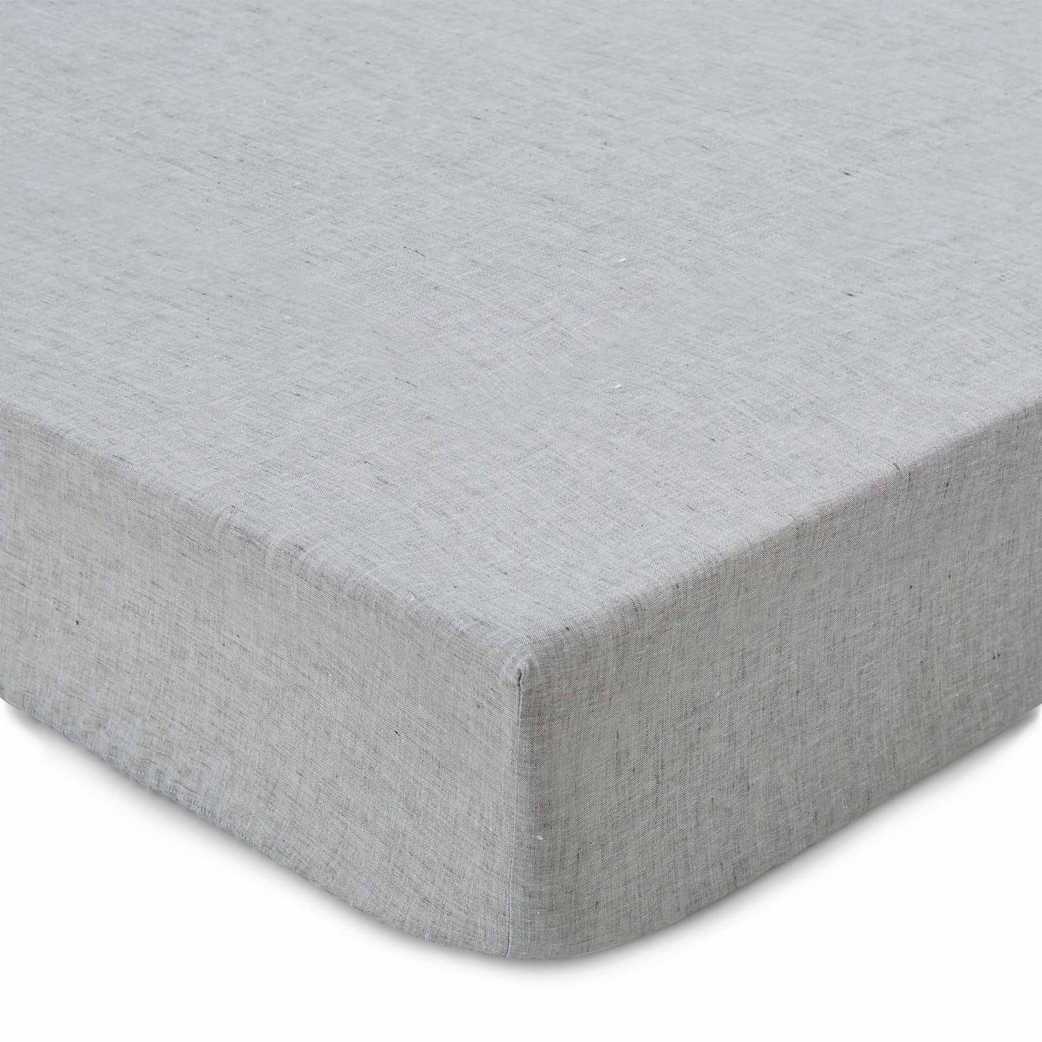 Sameiro fitted sheet, grey, 100% linen