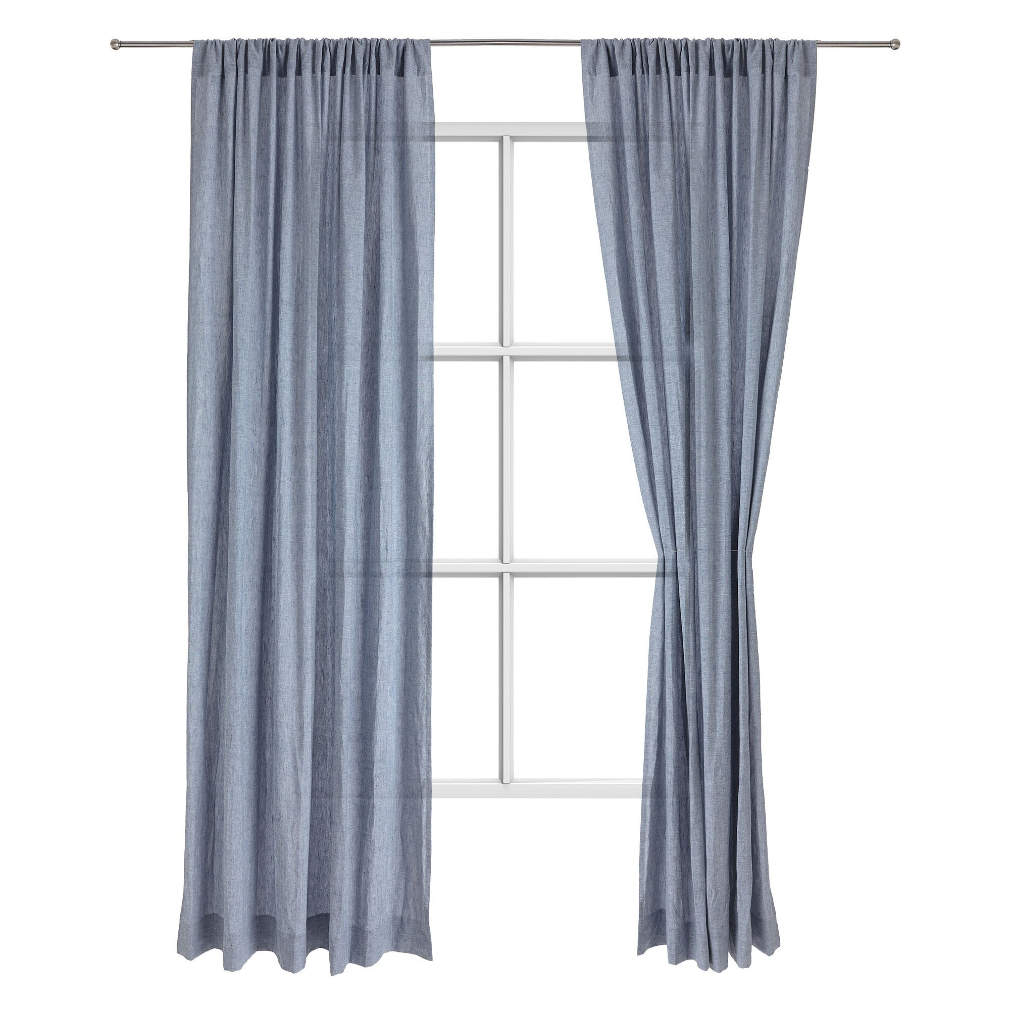 Sameiro linen curtain dark grey blue, 100% linen