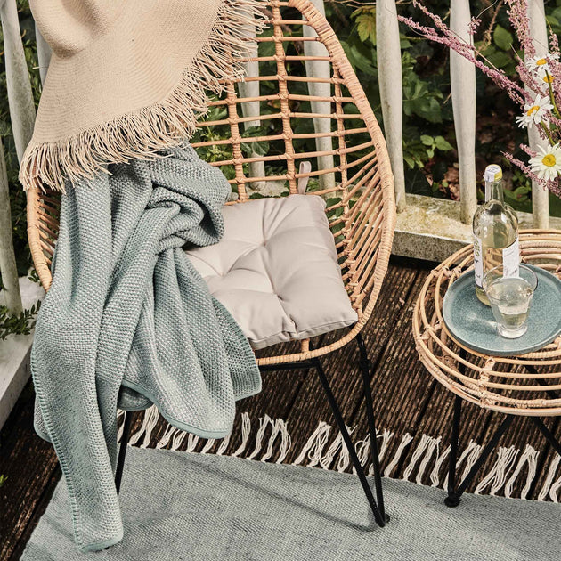 Alvor Blanket in green grey & silver grey | Home & Living inspiration | URBANARA