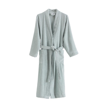 Ventosa Organic Cotton Bathrobe light grey green & white, 100% organic cotton