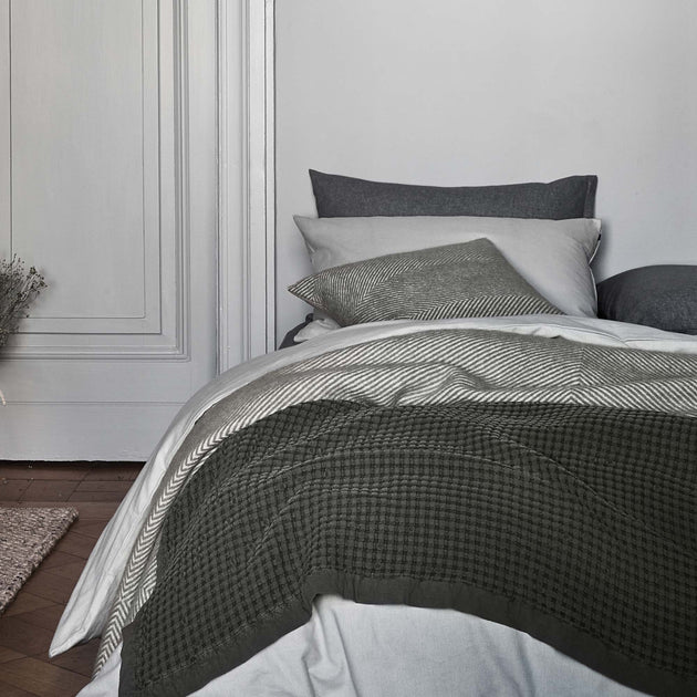 Vilar Flannel Bed Linen in mist green | Home & Living inspiration | URBANARA