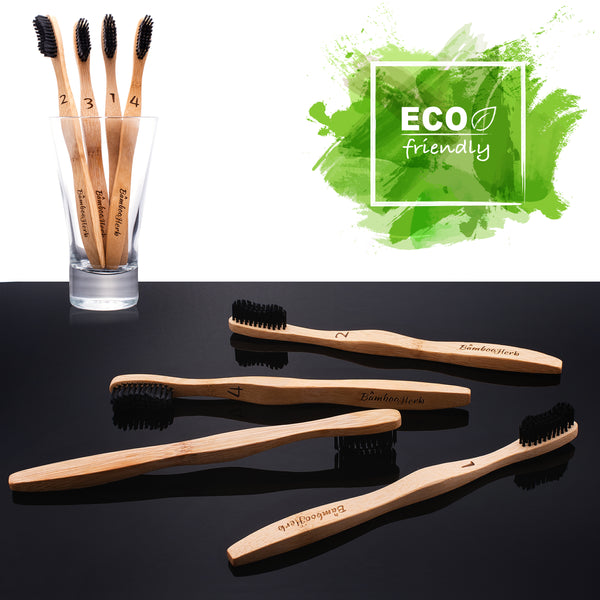 Natural Bamboo Charcoal Black Toothbrush - Eco-Friendly- Biodegradable & 100%  Vegan Organic & Sustainable - Pack Of 16 - Bambooherb