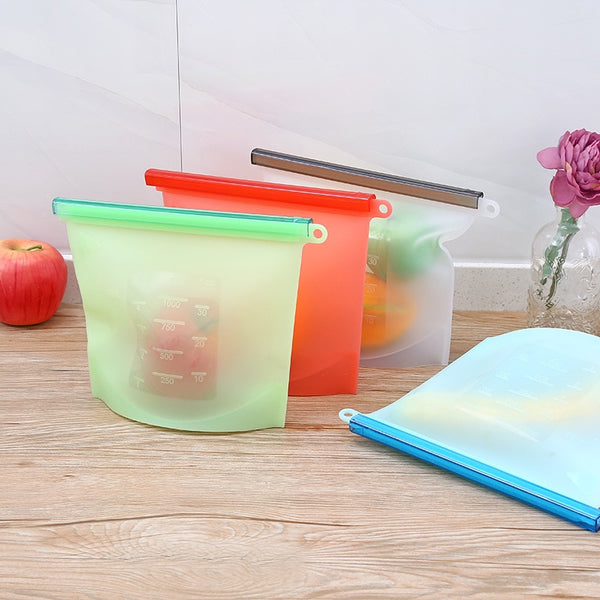 Reusable Vacuum Silicone Food Bag - Food Storage Containers - Refrigerator Bag 1/4 Pieces - Bambooherb