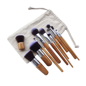 11 PIECES - Professional Bamboo Makeup Brushes Set - Bambooherb