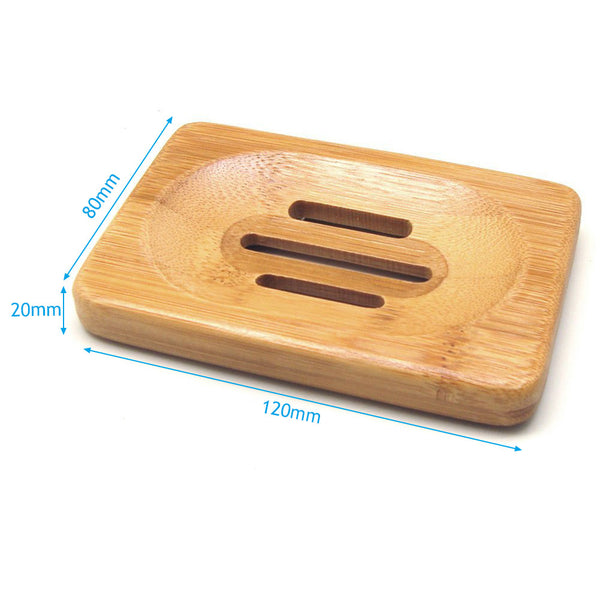 Home Soap Tray Holder - Natural Bamboo Wooden Soaps Dish - Bambooherb