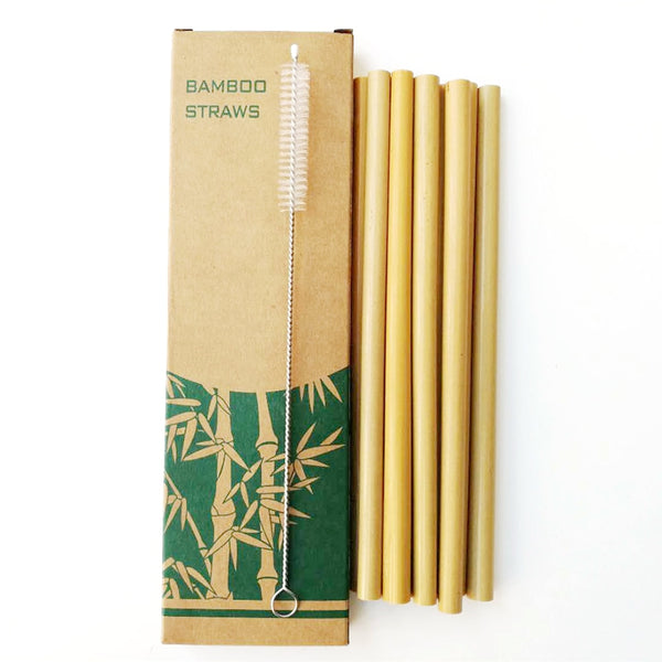 10pcs/set Reusable Eco Friendly Biodegradable Bamboo Drinking Straws with Cleaning Brush - Bambooherb