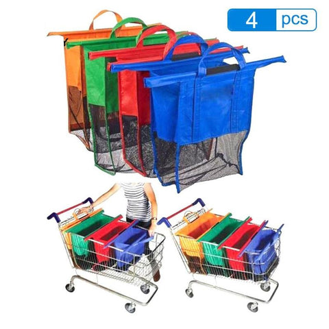 4pcs/Set Supermarket Shopping Bags Foldable Reusable Eco-Friendly Shop Handbag Trolley bag - Bambooherb