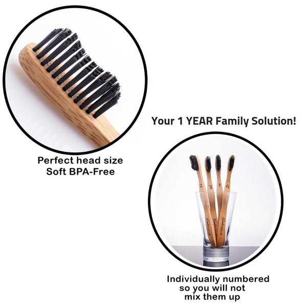 4 Toothbrushes - Natural Bamboo Black Charcoal Toothbrush - Bambooherb
