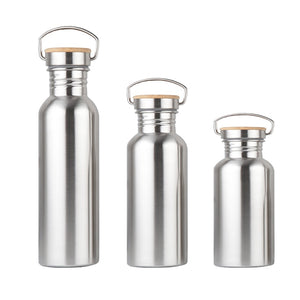 Portable Stainless Steel Water Bottle with Bamboo Lid - Bambooherb