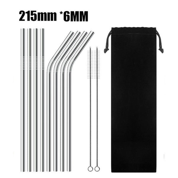 4/8 Pieces High Quality Stainless Steel Reusable Drinking Straw with Cleaner Brush - Bambooherb