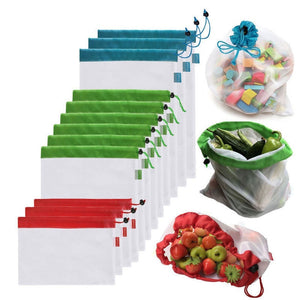5pcs Reusable Mesh Produce Bags Vegetable Fruit Toys Storage Pouch Grocery Organizer Bag Handbag - Bambooherb