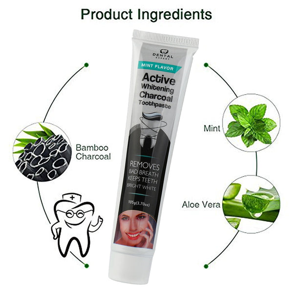 Charcoal toothpaste - Activated Charcoal Teeth Whitening Toothpaste Natural Black Mint Flavor Herbal - Bambooherb