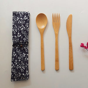 3 Pieces /set Bamboo Wooden Cutlery Set With Cloth Bag - Bambooherb