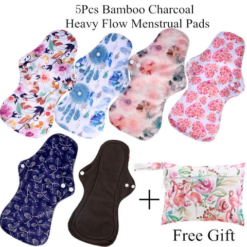 5 Pieces Reusable Bamboo Charcoal Cloth Pads Menstrual Pads Set - Bambooherb