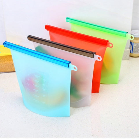 Reusable Vacuum Silicone Food Storage Bags - Refrigerator Bag 1/4 Pieces - Bambooherb