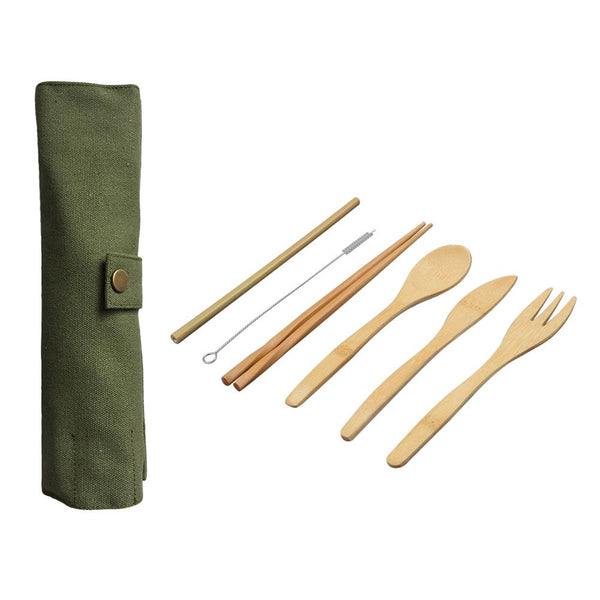 6-Pieces Wooden Cutlery Set Bamboo Cutlery Set With Random Color Cloth Bag - Bambooherb