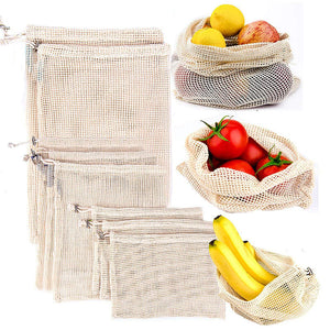 3/12 Pieces/Set Reusable Cotton Fruit And Vegetable Storage Mesh Bags - Bambooherb