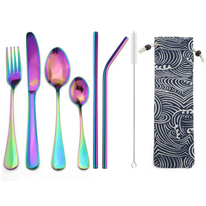 8 pcs  Rainbow Dinnerware Cutlery Stainless Steel Set - Bambooherb