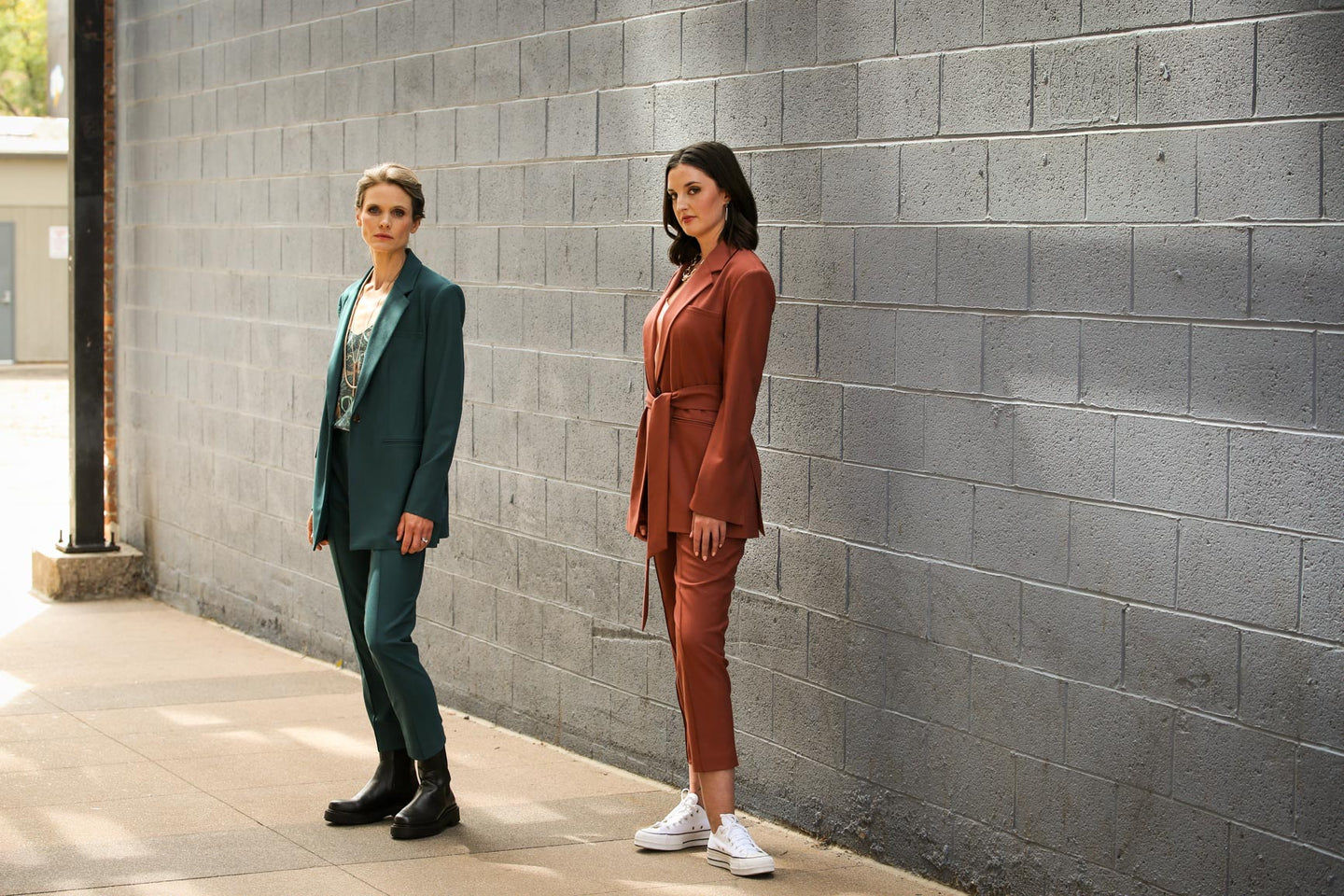 Womens workwear suiting in Italian wool, two models wearing Hollis Blazer and Livvy Pants by Glenn + Glenn.