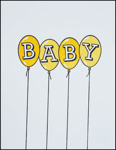 Baby Balloons (yellow) Greeting Card
