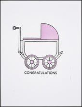 Load image into Gallery viewer, Congratulations Baby Carriage (Pink) Greeting Card