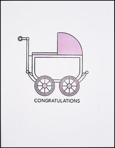 Congratulations Baby Carriage (Pink) Greeting Card