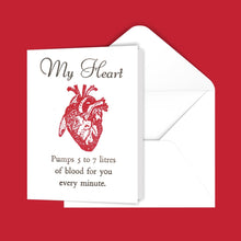 Load image into Gallery viewer, My Heart Pumps 5 to 7 litres of blood for you every minute. Greeting Card