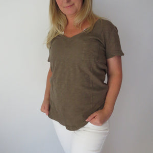 Olive Pocket Tee - SoCal Threads Boutique