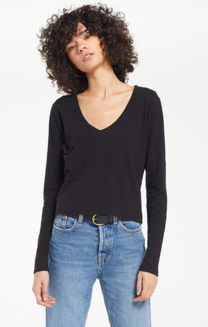 Mina Black Slub Long Sleeve - SoCal Threads Boutique