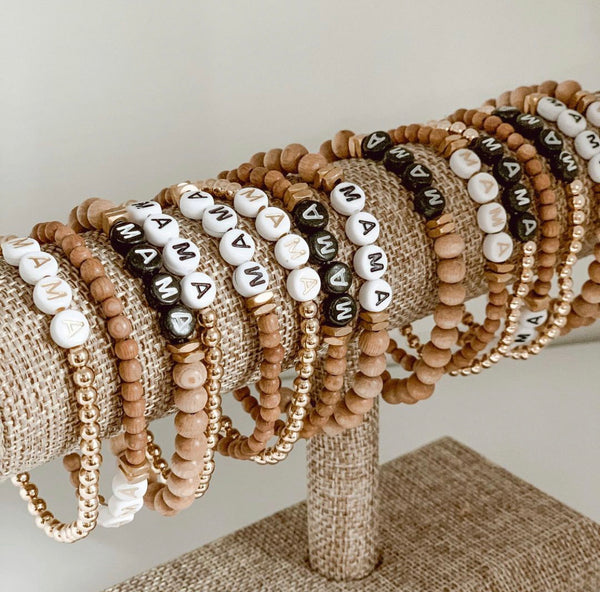 Mama Wooden Custom Beaded Bracelets - SoCal Threads Boutique