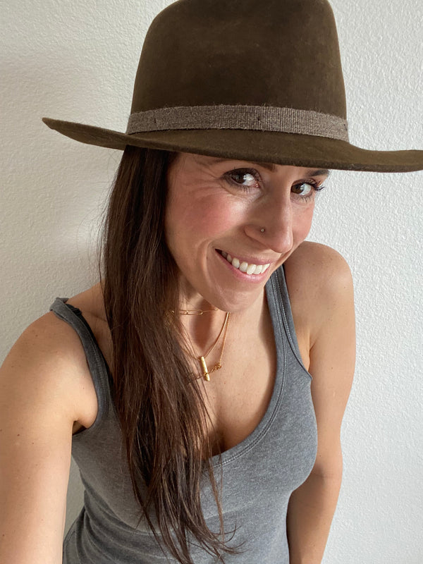 ElegHouston Brown with Italian headband - Unisex Fine Felt Hat - SoCal Threads Boutique
