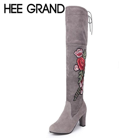 Sexy Ash Winter High Boots W/ Exquisite Embroidery