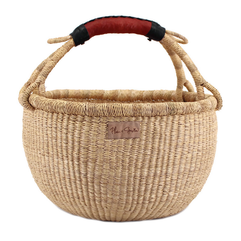 Natural<br>Cognac + Black Handle<br>Medium Market Basket