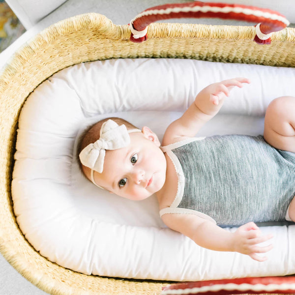 Wheatgrass<br> African Moses Basket <br> Cognac + Cream Handle