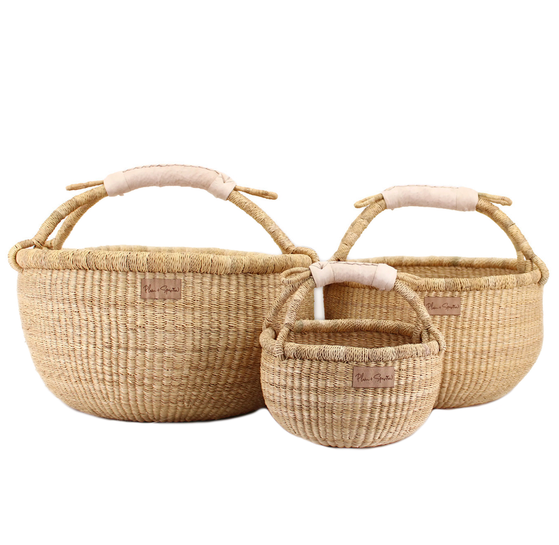 Natural<br>Cream Handle<br>Small Market Basket