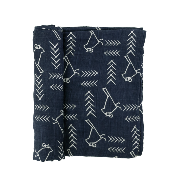 Village Bird Navy Swaddle
